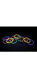 Lot de 100 bracelets fluo mix-couleurs 21 x 0,5 cm