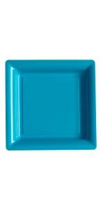 Lot de 12 assiettes carrées jetables turquoise GM
