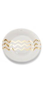 Lot de 12 assiettes jetables blanches chevrons or en carton D 23 cm