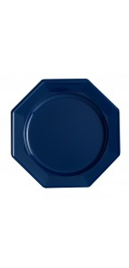 Lot de 12 assiettes octogonales jetables bleu marine GM