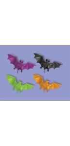 Lot de 12 chauves-souris fluo halloween en plastique 4,4 cm x 3,5 cm.