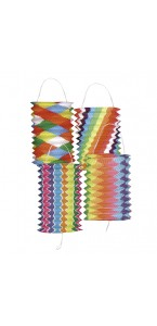 Lot de 12 lampions cylindrique bariolé multicolore 16 cm