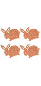 Lot de 12 lapins en feutrine marron clair 4 cm
