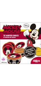 Lot de 12 mini disques déco azyme Mickey 4,5 cm