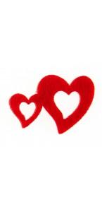 Lot de 12 Stickers Doubles Coeurs feutrine rouge