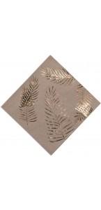 Lot de 16 serviettes fougères dorées 33 x 33 cm