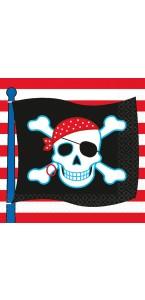 Lot de 16 serviettes jetables en papier Pirate Party 33 x 33 cm