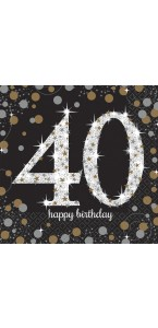 Lot de 16 serviettes jetables en papier Sparkling Celebration 40 ans 33x 33 cm