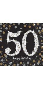 Lot de 16 serviettes jetables en papier Sparkling Celebration 50 ans 33x 33 cm