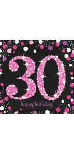 Lot de 16 serviettes jetables Sparkling Celebration rose 30 ans 33 x 33 cm