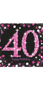 Lot de 16 serviettes jetables Sparkling Celebration rose 40 ans 33 x 33 cm