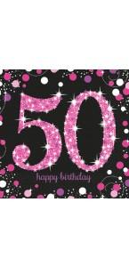 Lot de 16 serviettes jetables Sparkling Celebration rose 50 ans 33 x 33 cm