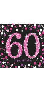 Lot de 16 serviettes jetables Sparkling Celebration rose 60 ans 33 x 33 cm