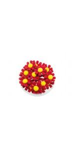 Lot de 18 fleurettes rouges adhésives 3,5 cm