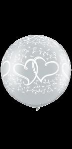 Lot de 2 Ballons Cœurs entrelacés  Argent 90 cm