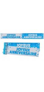 Lot de 2 bannières Joyeux anniversaire paillettes bleues