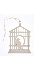 Lot de 2 étiquettes déco cages à oiseaux blanches