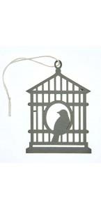Lot de 2 étiquettes déco cages à oiseaux grises