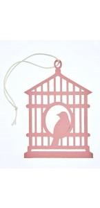 Lot de 2 étiquettes déco cages à oiseaux roses