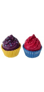 Lot de 2 marque-place Cupcake fuschia/prune