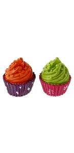 Lot de 2 marque-place Cupcake vert/orange