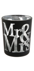 Lot de 2 photophores Mr & Mrs en verre noir