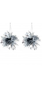 Lot de 2 Suspensions Pompon argent 7 cm