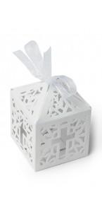 Lot de 20 boîtes blancs pour dragées Croix 5 x 7,5 cm