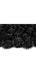 Lot de 20 boules pompon Oursin noir 2 cm