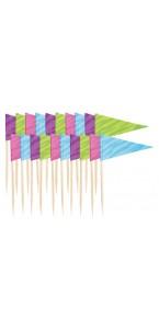 Lot de 20 piques drapeau jetables coloris assortis H 6,3 cm