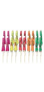 Lot de 20 piques parasol jetables coloris assortis H 10 cm