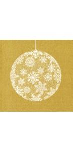 Lot de 20 serviettes intissé  Boule de Noël or 40 x 40 cm