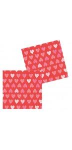 Lot de 20 serviettes intissé Petits cœurs rouges 40 x 40 cm