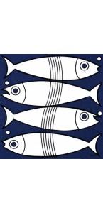 Lot de 20 serviettes intissée Fish 40 x 40 cm