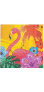 Lot de 20 serviettes intissée  Flamands roses 40 x 40 cm