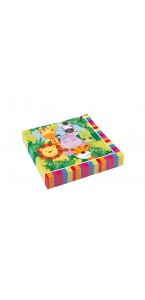 Lot de 20 serviettes jetables en papier Jungle 33 x 33 cm