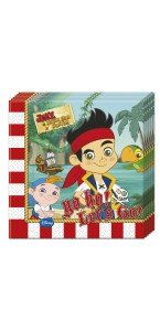 Lot de 20 serviettes jetables Jake le pirate en papier 33 x 33 cm