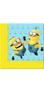 Lot de 20 serviettes jetables Lovely Minions en papier 2 plis 33 x 33 cm