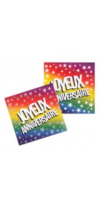Lot de 20 serviettes jetables Party Streamers en papier 33 x 33 cm