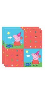 Lot de 20 serviettes jetables Peppa Pig en papier 33 x 33 cm