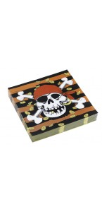 Lot de 20 serviettes jetables pirate Jolly Roger