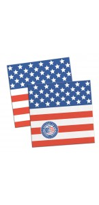 Lot de 20 serviettes jetables USA Party en papier 25 x 25 cm