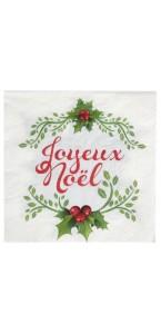 Lot de 20 serviettes Joyeux Noël en papier 33 x 33 cm