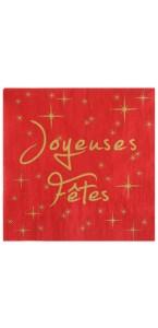 Lot de 20 serviettes  papier Joyeuses fêtes rouges 33 x 33 cm