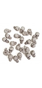 Lot de 24 Crânes petite taille Halloween 2x 1,3 x 1,5 cm