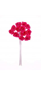 Lot de 24 mini roses satin fuschia