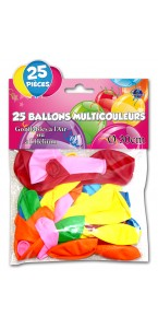 Lot de 25 ballons de baudruche en latex muliticolores