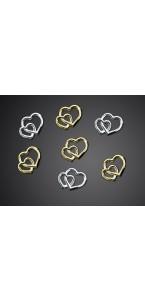 Lot de 25 Cœurs doubles argent 10 mm