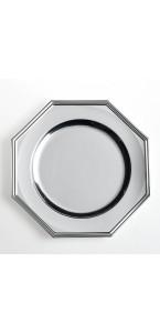 Lot de 3 assiettes octogonales jetables Argent 33 cm