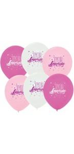 Lot de 3 ballons anniversaire fille princesse en latex rose